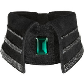 Karl Lagerfeld - Black diamond and hydrothermal emerald-embellished suede collar