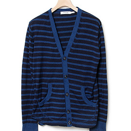 nonnative - AGENT CARDIGAN - COTTON INDIGO BORDER