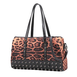 Punk Rivets Leopard Print Causal Individualized Shoulder Bag Tote [grxjy520197]