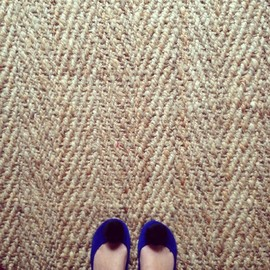 elehandmade - Handmade Royal Blue Ponpon Slippers Italian Leather