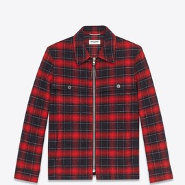 SAINT LAURENT PARIS - Classic trapper jacket (Black & Red / wool)