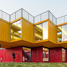 people's architecture office - cantilevered pavilion