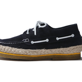 SOPHNET. - LEATHER DECK MOCCASIN/navy