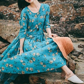 Linen dress - Maxi dress in green, blue Long Linen dress, Women's long Dresses, Flower dress, floor dress