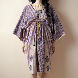 persephonevintage - indian hippie caftan kimono dress / 70s / cotton / s / m