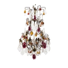 Guinevere Antiques - French Coloured Glass Fruit Chandelier