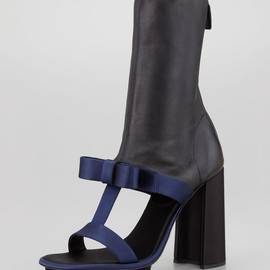 PRADA - Satin & Leather T-Strap Ankle Boot Sandal, Navy/Black