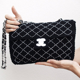 CHANEL - Black crochet Chanel 2.55 bag - handmade version of Chanel classique