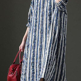 long striped Dresses - Women blue long striped Dresses Women Oversized maternity dress dresses for women