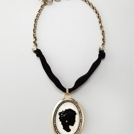 Lanvin - Pave Cameo Necklace - White/Black, Lanvin
