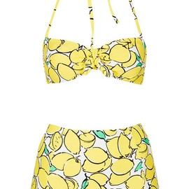 TOPSHOP - Topshop lemon print high waisted bikini