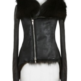 RIck Owens - Rick Owens black kangaroo leather and dark brown fisher fur zipped biker jacket | Montaigne Market