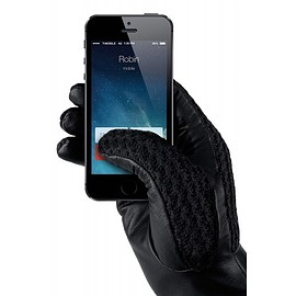 MUJJO - Leather Crochet Touchscreen Gloves