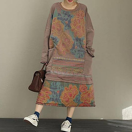 vintage cardigan with velvet dress, casual robes