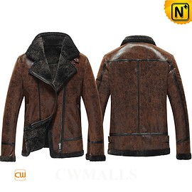 cwmalls - Madrid Mens Shearling Flight Jacket CW861276