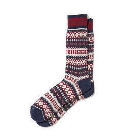 White Mountaineering - COTTON JACQUARD DIAMOND BORDER PATTERN MIDDLE SOCKS