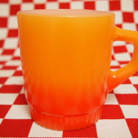 Fire King, ファイヤーキング - Orange Gradation Ribbed Bottom Mug