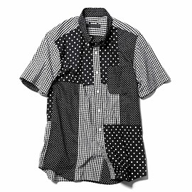 SOPHNET. - S/S PATCH WORK B.D SHIRT / BLACK