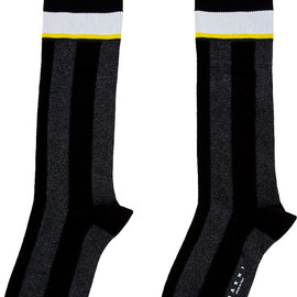 MARNI - Black & Grey Striped Tall Socks