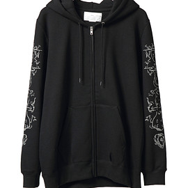 NADA. - Embroidery arm zip parka / Black