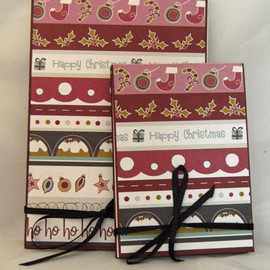 Luulla - Christmas Stripes - Covered Notebook Set in wine, pink and charcoal