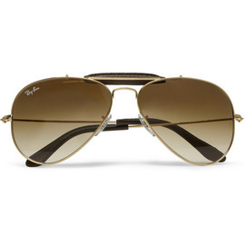 Ray-Ban - Outdoorsman Leather-Trimmed Aviator Sunglasses