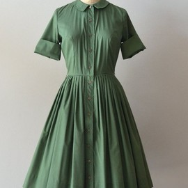 1950s dress / vintage 50s shirtdress / Old Greenwich by DearGolden, $128.00