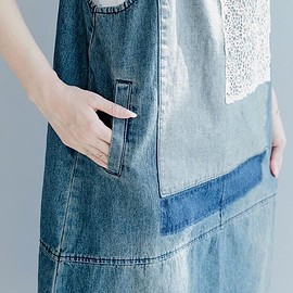 dress - Summer dress, Cotton denim vest, Casual Holiday dress, dresses for women