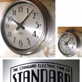 """【THE STANDARD ELECTRIC TIME CO.】製 - 1940's """"Art Deco"""" Double-Face Clock"""