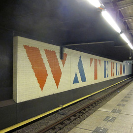 The Netherlands, Amsterdam - Text painted on the wall inside Metrostation Waterlooplein. Created by Willem Sandberg