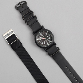 Timex, JOURNAL STANDARD - Camper w/ Leather & Nylon Straps - Black