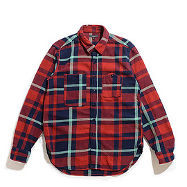 ENGINEERED GARMENTS - Work Shirt-Heavy Twill Plaid-Red×Navy×Teal
