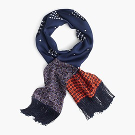 J.CREW - Lightweight silk scarf in printed navy patchwork