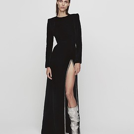 Saint Laurent - Saint Laurent Crystal-Embellished Slit-Front Velvet Gown