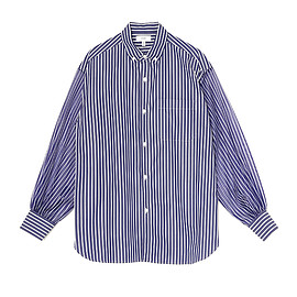 HYKE - STRIPED SHEER SLEEVE SHIRT