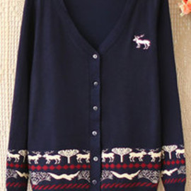 Leisure Simple Deer Print Knit Cardigan