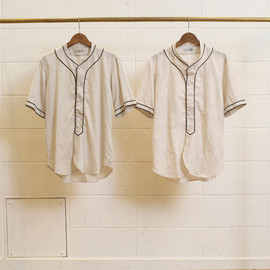 UNUSED - COTTON SATIN SHORT-SLEEVE BASEBALL SHIRT