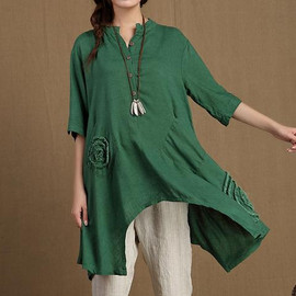 MaLieb - Summer short sleeved Shirt Loose Asymmetric Long Shirt