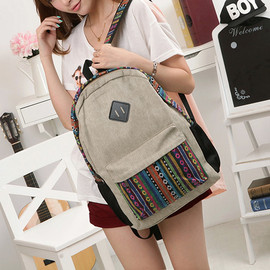 bag - Image of [grzxy6200010]Leisure Folk Style Floral Print Beige Backpack