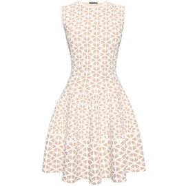 Alexander McQueen - SS2015 EMBOSSED CUT OUT FLOWER JACQUARD 1/2 CIRCLE MINI DRESS