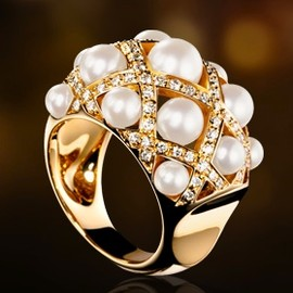 CHANEL - Chanel 18k, pearl & diamond ring