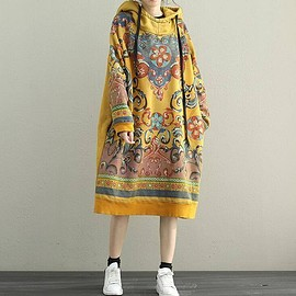 Gown, Oversized Dress - Women Hooded Maxi dress,  Loose bottoming dress in yellow, red, Loose pullover dress