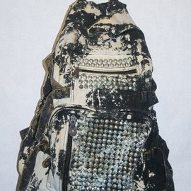BESS - ●NEW● ★BESS★ decay black bleach splotch corroded stud large backpack 1