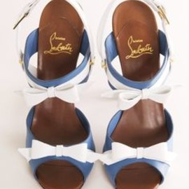 Christian Louboutin - white bow and blue