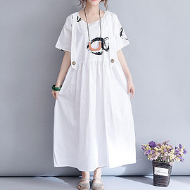 Cotton dress long - Cotton dress long, white dress, black dress, maxi dress, pocket dress, oversized dress