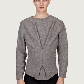 J.W. Anderson - Men's Grey Twisted Boiled Wool Knit