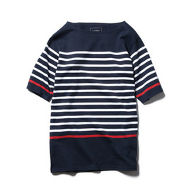 SOPHNET. - S/S PANEL BORDER BOAT NECK CUT & SEWN NAVY×WHITE(RED)