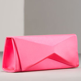 Christian Louboutin - Sculptural Satin Clutch in-shocking-pink