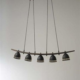 Osvaldo Borsani - Walnut, Brass and Painted Metal Chandelier