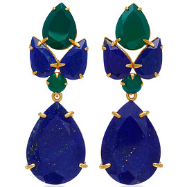 Bounkit - 14K Gold Plated Brass, Lapis And Green Onyx Earrings
